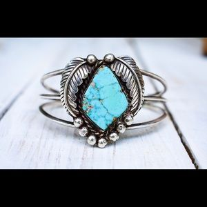 Vintage Turquoise and Sterling Cuff